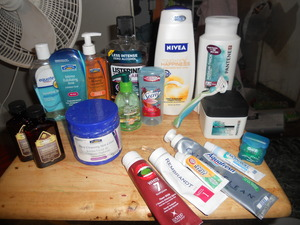 some shower and morning regimen stuff. ehh i have a thing for toothpaste -.-