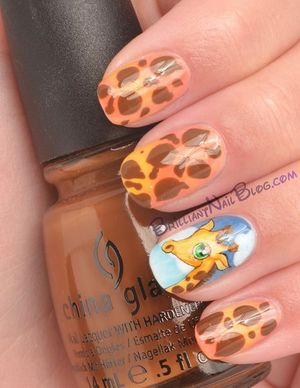 For product list visit my blog http://brilliantnailblog.com/giraffe-nails
