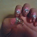 Pink leopard print curved nails