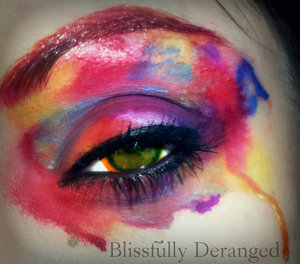 The left over color in the sink from my airbrush makeup that was running into the drain because of the water inspired me to do this. Two other products in this look I used were Laura Geller art pens and Belletto Airbrushing kit