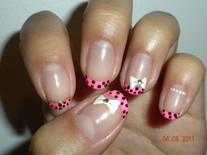 Neon pink French with black dots
