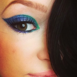 Bh cosmetics 88 palette: blues and greens, ardelle False lashes, wet and wild liquid liners: indigo blue & turquoise.