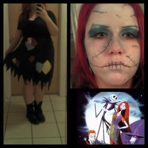 This is my Halloween makeup! I put the patches on the dress myself. :) White paint was just your average run-of-the-mill grease paint!