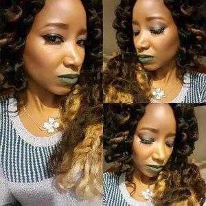 Very #Smokey Goth Green Halo Eyes w/ bronzey skin and Bold dark lips...??? @clovespaintedcanvas