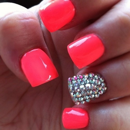 Hot Pink Nails With Rhinestones Dajah C S Photo Beautylish