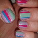 Candy colour stripes & glitter