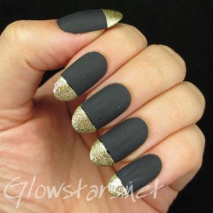 Read the blog post at http://glowstars.net/lacquer-obsession/2014/09/matte-black-and-gold-glitter-tips/