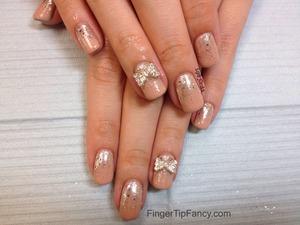 DETAILS HERE - http://fingertipfancy.com/nude-nails-glitter-polish