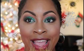 Green Glitter Holiday Makeup! Plus a mini tour of my Christmas decorations in my house!
