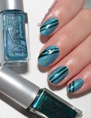 Depend 2033 Ocean Blue over Zoya Charla + stripes in Depend 325. http://brilliantnailblog.com/off-to-italy