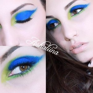 You can watch the tutorial for the look here  http://bit.ly/1tIqyaX   PRODUCTS USED  Smashbox 24HR Primer Maybelline Eye Studio Navy Pencil  Urban Decay Electric Palette (Gonzo, Chaos, Freak and Thrash) Bourjois DuoChrome Eyeliner in Vert Mac Duo Shadow for Highlight Maybelline Lash Sensational  Quo Lashes in 806 LipFusion Gloss in Nude Essence Lip Liner Pencil in In The Nude