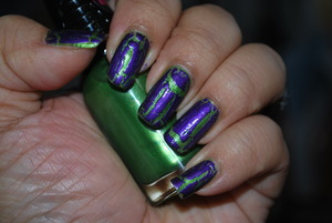 Nails for this week - trying for a frankenstein look. lol