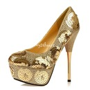 Spiraea gold sequins peep toe high heels waterproof shoes