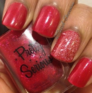 """Accent nail is Elixir Lacquers """"With A K"""" http://www.polish-obsession.com/2013/05/pretty-serious-viscous-vampire.html"""