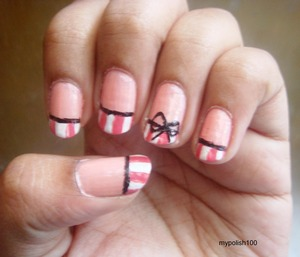 VISIT MY BLOG FOR MORE FUN http://mypolish100.blogspot.in/2013/04/pinstripe-bow-nails-tutorial.html