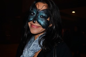butterfly mask on my friend mariam for halloween.