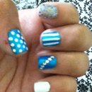 Blue And White Nails