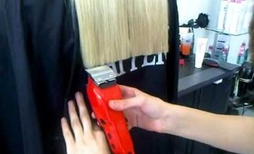 cutting long blond hair whit a clipper