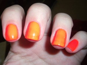 If your neon nails look like this even after many coats all you need is some underwear! Apply a coat of silver or white before the color and you'll never spend hours apply a bajillion coats of neon polish again! :)