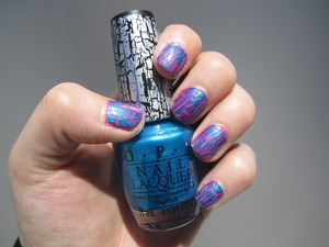 China Glaze Pink Voltage with OPI Turquoise Shatter