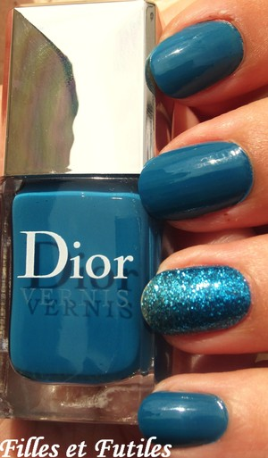 Dior Lagoon nail polish. Part of the Summer mix 2012 collection.  Gradient glitter nail is a nail patch by Sephora in Blue Lagoon.