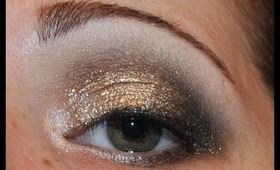 New Year Golden Glitter Eye Makeup Tutorial