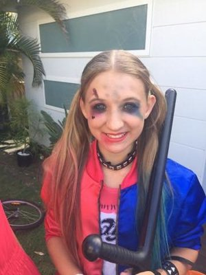 My little cousins friend as Harley Quinn Makeup by yours truly.
