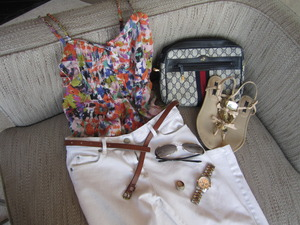 Casual Chic. White Zara jeans, Forever21 floral top, skinny belt, Michael Kors watch, embellished sandals, Miu Miu sunglasses, accessories, vintage Gucci watch