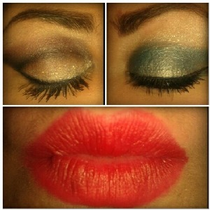 2 different eye looks with a red lip