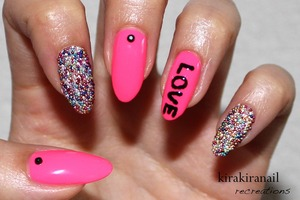 """This is not my original idea! This was inspired by the nail magazine """"Nail Venus"""" (p.017) of spring 2013.  ♡ Products I used ♡ Nr. 370 by f.flormar (white) """"Black is back"""" (Nr. 144) by essence """"Hot Pink Obsession"""" by Ruby Kisses Black studs/ gems from the 100 Yen shop Micro beads: essence effect nails Base and top coat"""