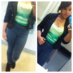 Black blazer ($20 H&M) Green Tank ($10 Charlotte Rousse) High waisted jeans ($30 H&M) Black wedges ($30 Forever 21) Bow ring ($5 H&M) Flower necklace ($10 Aeropostale)