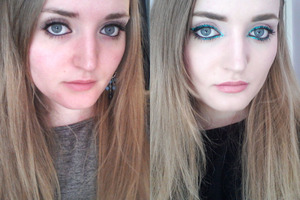 SEE THE DIFFERENCE!! 0___0    Only wearing MAC's blacktrack and falsies in the first picture, no make up on my face, no concealer, no foundation, no bronzer, blush etc etc.    In the second picture I am wearing a full face of make up. Foundation, concealer, blush, powder, bronzer, lipliner, lipstick, glitter liner etc etc.    It scares me how I look like two different people almost.