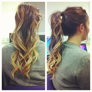 My friends curled dip-dye ponytail