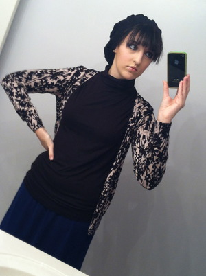My total NYE 2012 look! Blue skirt from Forever 21, cardi, turtleneck, and beanie from H&M.