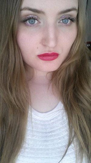 MOTD - Done a while ago so I can't remember the date.    NO facial makeup here, only mascara, glitter and red lip liner.