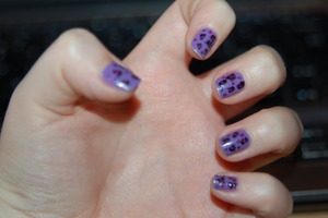 Purple leopard nail art. Blog post about this here: http://therumourmusings.blogspot.com/2011/06/nails-of-day_27.html