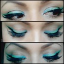 Triple Delineado Azul, Verde Y Negro