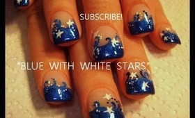 easy short nails Dark Blue Tips with White Stars: robin moses nail art tutorial design  415