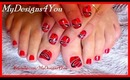 TATTOO ELEMENT RED NAIL ART FOR SHORT NAILS, TUTORIAL, HOW TO - ♥ MyDesigns4You ♥