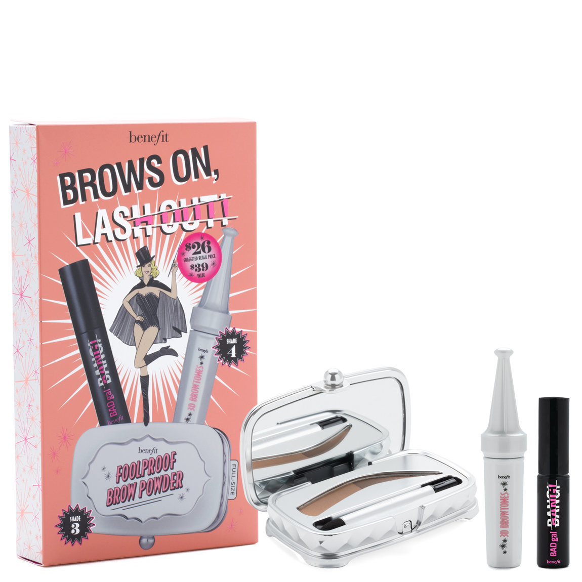 Benefit Cosmetics Brows On, Lash Out! Brow & Mascara Set product swatch.