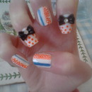 Polkadot/Stripe Nails With 3D Bow