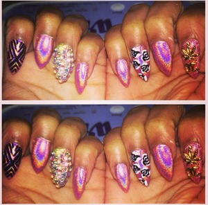 I do what I want nails. Weed and Chanel Charm with crystals and flower and striped design @dazzlingdreamnaisl