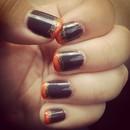 Gray, Orange, and Gold Glitter