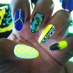 Zebra, peace, galaxy, tribal, heart, studs :)