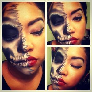 two faced skeleton/glamazon halloween makeup