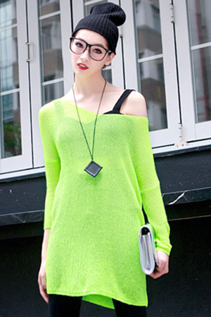 Fluorescent-green jumper, featuring v neck, long sleeve styling, hollow design, solid color, draped detail, loose fit, soft touch fabric. Mixed with denim pants and boots is perfect.