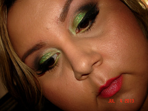 I used the cha-ch-cha mineral eyeshadow from the tropical taboo line at mac cosmetics