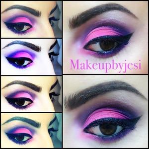 Fuchsia & Purple eyeshadow look using : la femme & Inglot cosmetics.