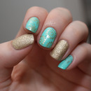 Gold&turquoise skittlette nails