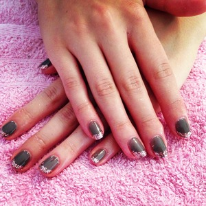 Rubble shellac with rose pedals glitter  Clients idea of colour combination! Lush!